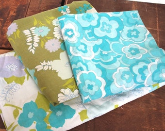 Vintage 1960's Fabric Collection // 60s Retro Green and Blue Floral Bed Sheet Fabric Supply