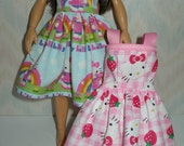 Handmade clothes for doll such as Lammily-  Your choice - Blue or Pink kitty print dress