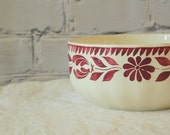 Large Serving Bowl Red White /// German Ceramic Pottery with Hand Painted Floral Flowers /// Rustic Primitive Farm House Decor from Germany