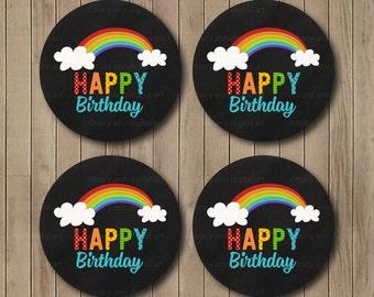 Rainbow Happy Birthday Toppers -  Printable  DIY
