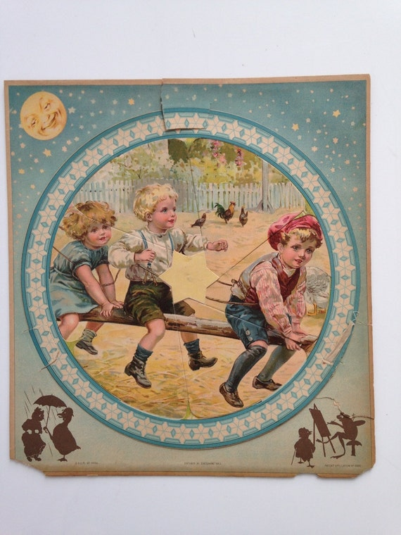 Antique 1800's Victorian Paper Puzzle- Children Playing