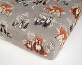 Woodland Crib Bedding - Changing Pad Cover and Crib Sheet - Standard or Mini Crib Sheet / Woodland Crib Sheet / Hello Bear by Babiease