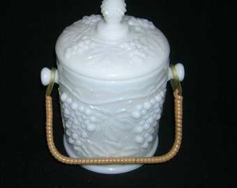 Vintage Imperial Milk Glass Grape Pattern Covered Candy Jar With Split Bamboo Handle Mark On Bottom Underside
