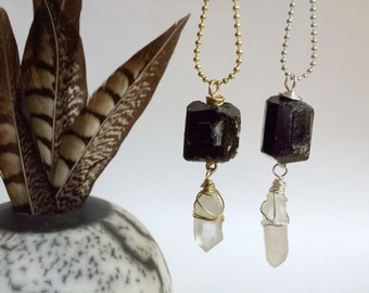 Black tourmaline and crystal point pendant necklace, mineral pendant necklace