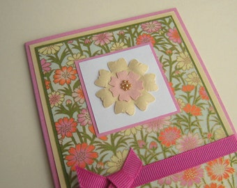 Pink and Yellow Floral Chiyogami Washi Greeting Card Blank Inside
