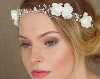 Bridal headband, Bridal floral crown. Wedding headpiece, Wedding headband, Bridal Hair Vine, Chain hair piece, Wedding Hair Accessories