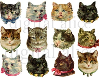 Vintage VICTORIAN CATS - Fluffy Cute Kitty Cat Heads Instant Download Digital Printable-  Scrap - Collage Sheet - DiY Print- png and jpg