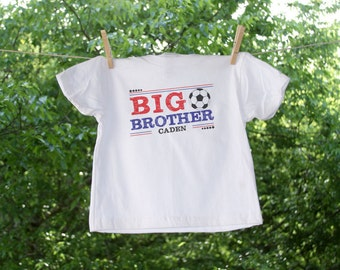 Big Brother with Soccer and Name Personalization - Red & Blue