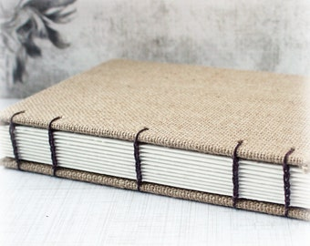 Blank Art Journal 8x10 Journal Watercolor Journal Mixed Media Journal Sketch Journal Hand Bound Book Burlap Journal Coptic Stitch Art Diary
