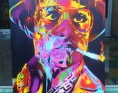 Hunter S Thompson painting,fear & loathing in Las Vegas,stencil art,spray paint art,psychedelic,Johnny Depp,movies,film,drugs,glasses,gonzo