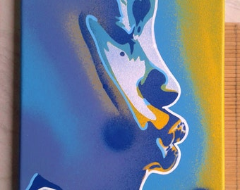 Kiss series stencil art paintings urban afro american African pop art yellow blue abstract graffiti woman street art canvas home living art