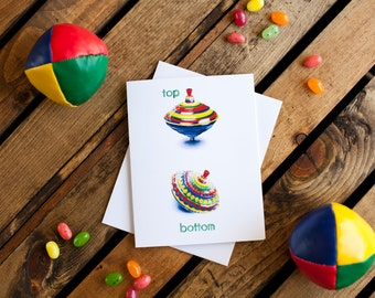 Toy Top Notecard (greeting card, blank interior for thank you, get well, thinking of you, friendship, anytime, encouragement, humor)
