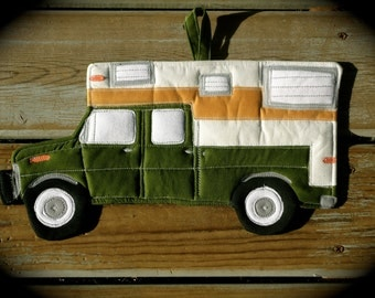 Camper Potholder, Camping potholder, truck with camper, Made to order