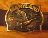 Vintage Brass Maryland Belt Buckle
