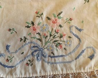 Vintage Dresser Runner With Hand Cross Stitched Floral Spray