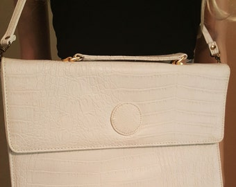 Large White Bag with Alligator Texture and Top Handle