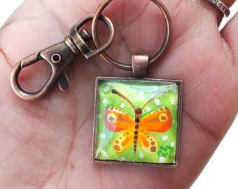 Orange Butterfly Keychain, REAL Miniature painting, NOT A Print, Mini art pendant