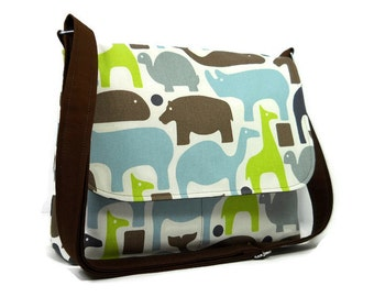 Ladies Messenger Bag, Zoo Animals Cross Body Purse, Fabric Handbag, Cotton Pocketbook, Crossbody Bag for Women, Adjustable Strap
