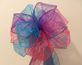 Glitter Teal Blue, pink and purple  Wedding/ Pew Bows/ aisle decorations set of 10