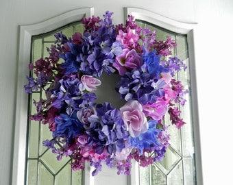 Spring/Summer wreath Shades of Purple roses, dahlias, hydrangeas, iris, lilacs