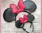 Minnie Mouse Bow Ears Headband Doll and Girl Set - CUSTOM - Twincess Bowtique