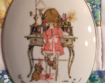 Vintage Holly Hobbie Wall Plaque Holly Hobbie and Cat #2115
