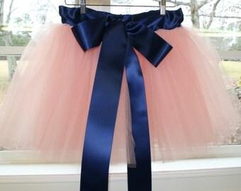 coral flower girl dress, peach tutu, sewn tutu, tutu skirt, tulle skirt