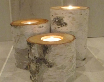 "5"",4"",3"" Birch Bark Candle Holders 1 Set of 3 Home Decor Wedding  Wood Candles Rustic Centerpiece"