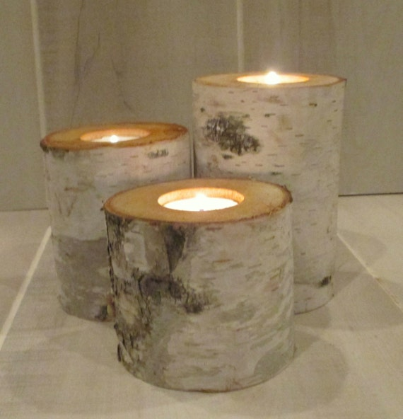 Items similar to quot birch bark candle holders set