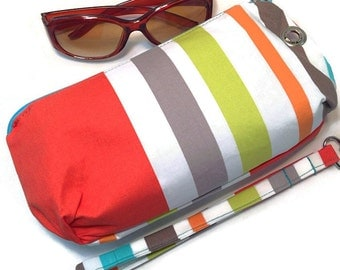 Clutch Wristlet Detachable Strap, Bright Multi Stripes Print