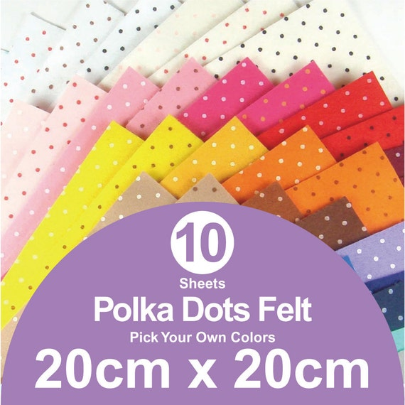 10 printed polka dots felt sheets 20cm x 20cm per sheet for Polka dot felt fabric