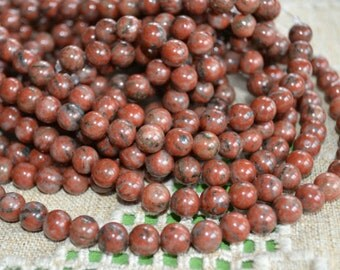 100pcs 4mm Red Sesame Jasper Natural Gemstone Beads Round 16 Inches Strand
