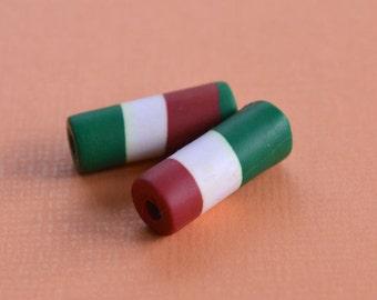 4 Flag Beads Italy 7x18mm Polyclay Polymer Clay Italian Jewelry