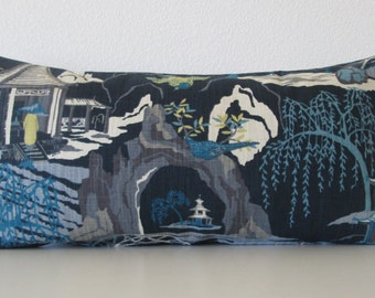 Neo Toile Indigo asian toile blue turquoise gray decorative pillow cover
