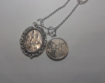 I bet my life on you - Imagine Dragons - Necklace Handstamped with 50 cents charm