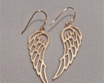 Gold Earrings, Angel Wing Earrings, Dangly Earrings, Gift for Her