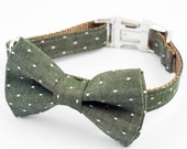 Bow Tie Dog Collar - Green Denim Pin Dot