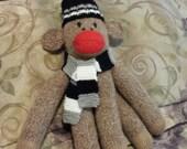 Hand Knit Sock Monkey - Team Colors!