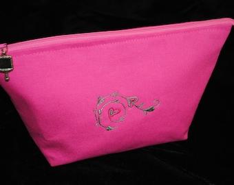 Pink cosmetic bag makeup bag toiletries bag embroidered hearts travel bag Valentine