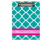 Personalized Clipboard turquoise clover monogrammed choose design and colors