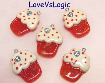 4 Glitter CupCake Lucite Charms.Red Tone