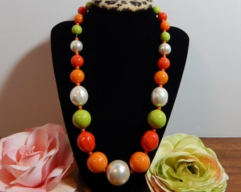 Vintage Beaded Necklace Mid Century Mod Fashion Jewelry Candy Color Gumball Necklace Orange Lime