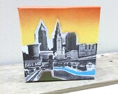 Super Small Cleveland Painting 5 x 5 No. 07 on Canvas