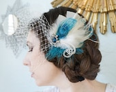 HARPER -- Dark Teal Turquoise Blue Sapphire Rhinestone White Ivory Peacock Feather Wedding Bride Bridal Fascinator Hair Clip Headpiece
