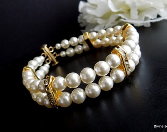 Pearl Bracelet, Ivory Swarovski Pearls,Bridal Pearl Rhinestone Bracelet,Classic Bracelet,Gold Bridal Bracelet,Cuff Bracelet,Pearl,FRANCESCA