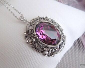 Swarovski Crystal Bridal Necklace vintage style purple swarovski necklace Statement Bridal Necklace Wedding Crystal Necklace MARION
