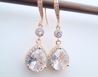 Rose Gold Crystal Bridal Earrings, Rhinestone Teardrop crystal Earrings, rhinestone bridal Earrings, Statement Bridal Wedding earrings, ADDA