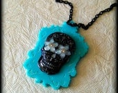 SERENITY SKULL NECKLACE-Dia De Los Muertos Skull on  Filigree Turquoise Laser Cut Acrylic Cameo