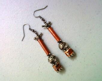 Rust and Black Earrings (1217)