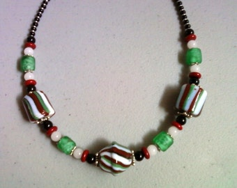 Red, White and Green Ethnic Necklace (0066)